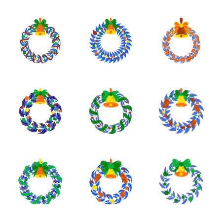 Assembly flat shading style illustration Christmas wreath