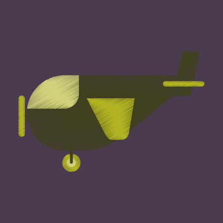 Flat Icon in Shading Style Airplane with propeller