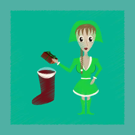 Flat shading style icon of Christmas girl gifts
