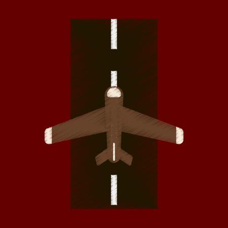 Flat Icon in Shading Style airplane runway Ilustração