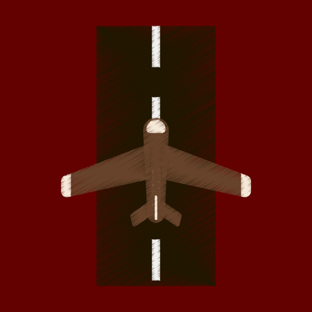 Flat Icon in Shading Style airplane runway Stock Illustratie