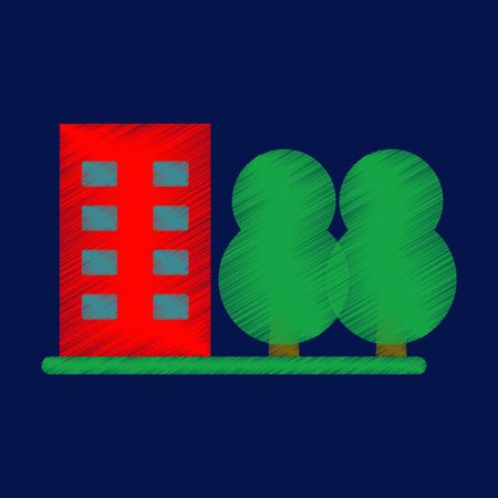 Flat Icon in Shading Style multi-storey building Illustration
