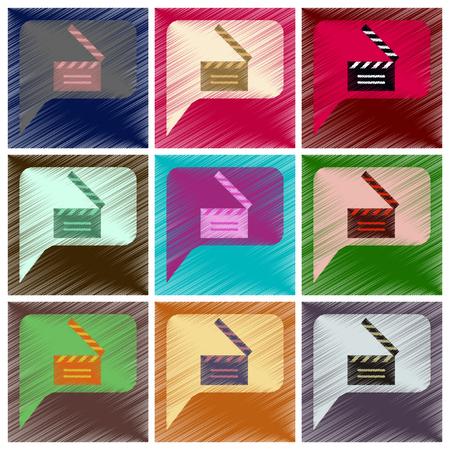 Set of Flat Icons in Shading Style film slapstick Иллюстрация