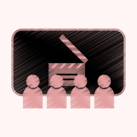 Flat Icon in Shading Style People in cinema