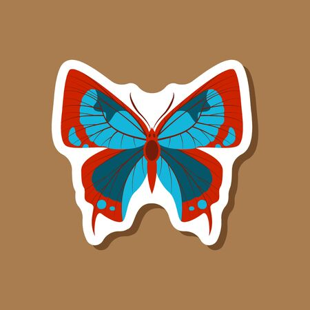 Butterfly paper sticker on stylish background insect.