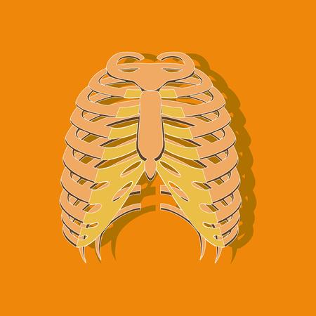 chest thorax paper sticker on stylish background Illustration