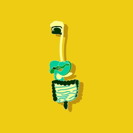 Digestive system paper sticker on stylish background. Illustration