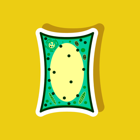Plant cell paper sticker on stylish background. Illustration
