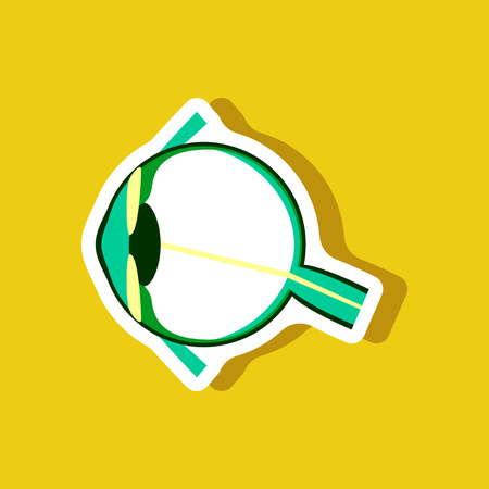 Eye paper sticker on stylish background. Illustration