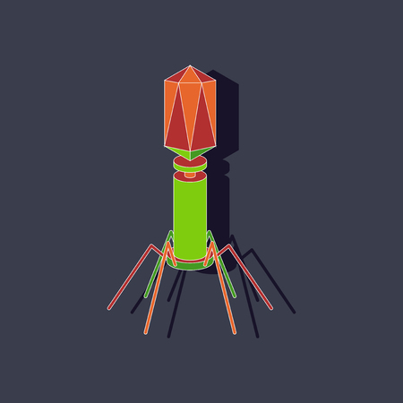 Paper sticker on stylish background bacteriophage Illustration