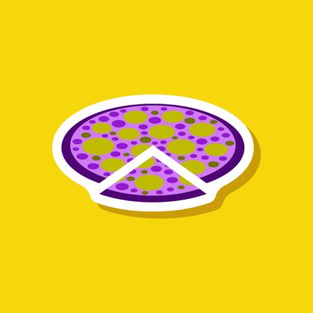 Paper sticker pizza. Illustration