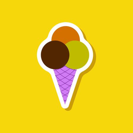 Paper sticker Ice cream balls.
