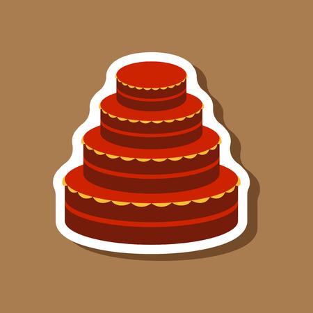 Sweet dessert in paper sticker wedding cake Illustration
