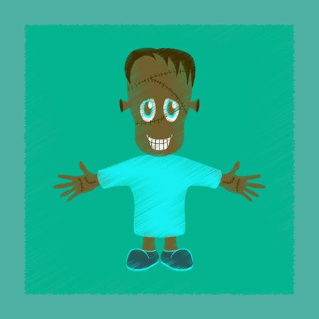Flat shading style icon zombie men.