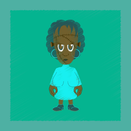 Flat shading style icon of zombie woman.