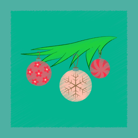 Flat shading style icon Christmas tree toys.