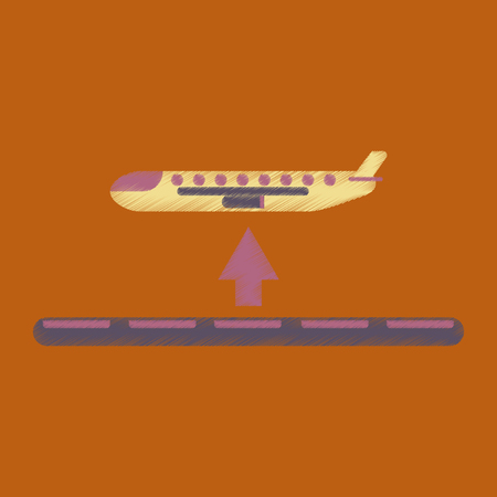 Flat Icon in Shading Style plane takeoff airport. Imagens - 92876133