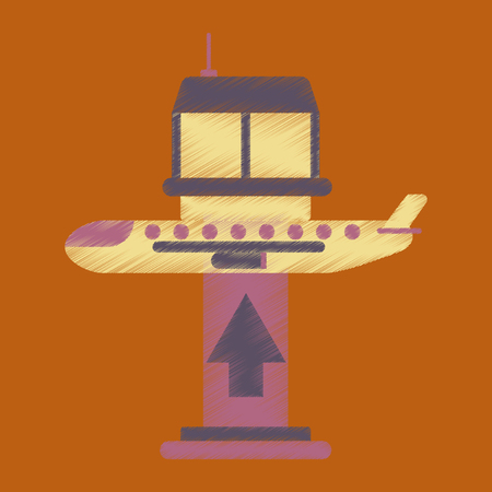 Flat Icon in Shading Style plane takeoff airport.