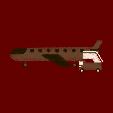 Flat Icon in Shading Style airplane gangway.