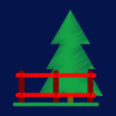 Flat Icon in Shading Style Fenced spruce
