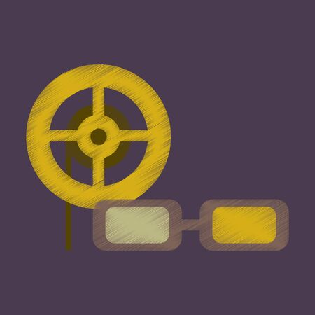 Flat Icon in Shading Style 3d cinema Stock Photo