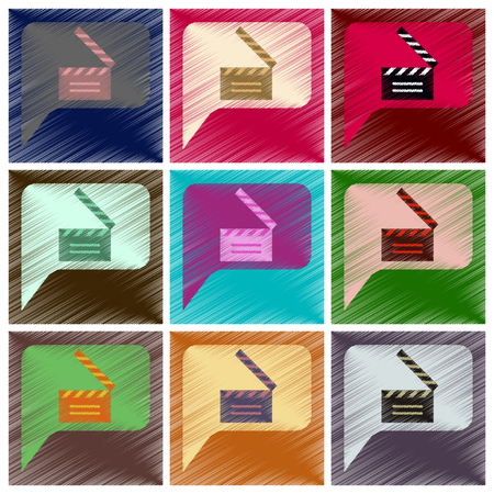 Set of Flat Icons in Shading Style film slapstick.
