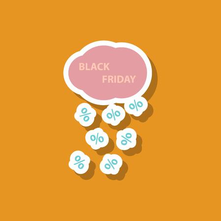 fashion patch, sale sticker black Friday rain cloud Illustration