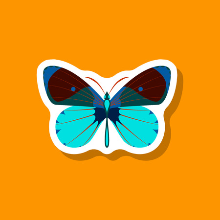 Butterfly  paper sticker on stylish background insect. Illustration