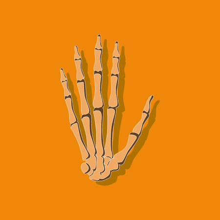 wrist bone paper sticker on stylish background