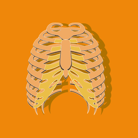 A chest thorax paper sticker on stylish background Illustration