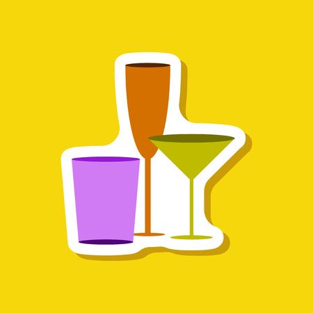 paper sticker Cocktail glasses