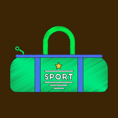 Flat shading style icon Sports bag Illustration