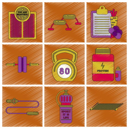 Set of flat shading style icons Fitness equipment