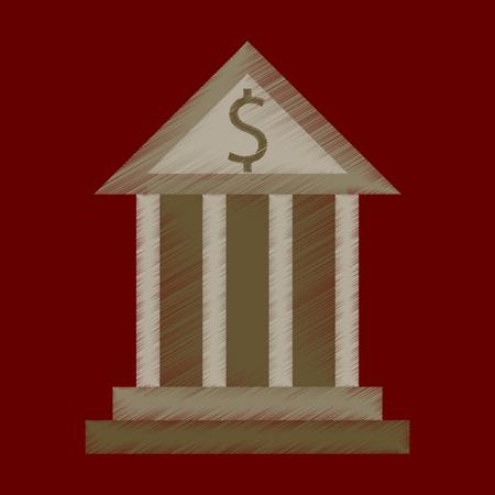 flat shading style icon zakelijke bank gebouw Vector Illustratie