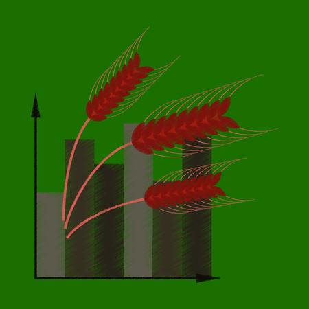 flat shading style icon Wheat infographics