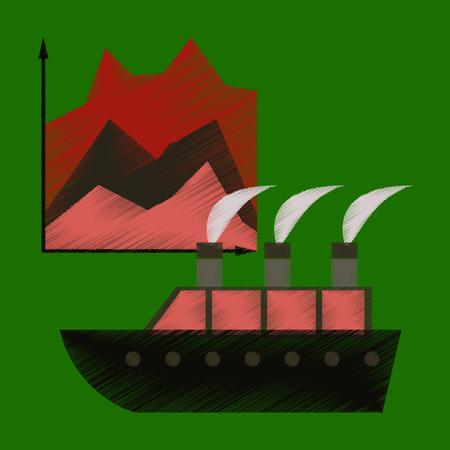 flat shading style icon Cruise ship Infographic  イラスト・ベクター素材