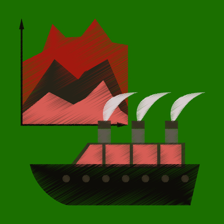 flat shading style icon Cruise ship Infographic 일러스트