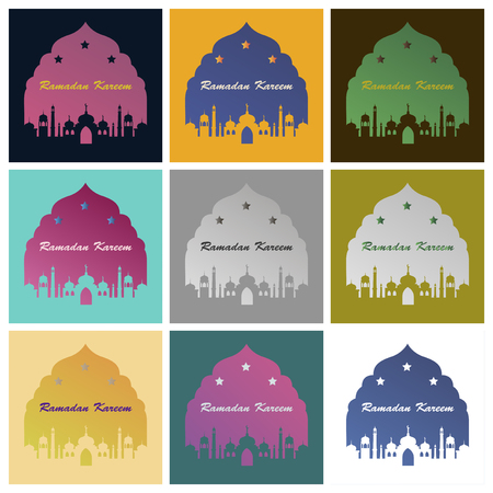 Set of icons in flat style Ramadan mosque  イラスト・ベクター素材