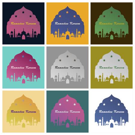 Set of icons in flat style Ramadan mosque Stock Illustratie