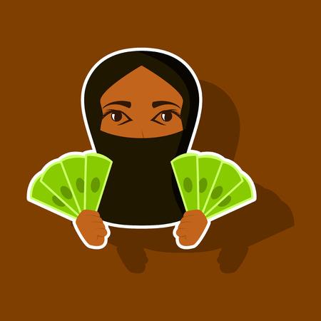 Realistic paper sticker on theme Arabic business money Muslim woman
