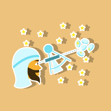 realistic paper sticker on theme Arabic business astronomer