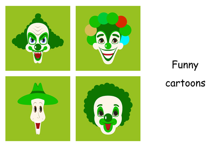 assembly of flat icons on theme funny clowns Иллюстрация