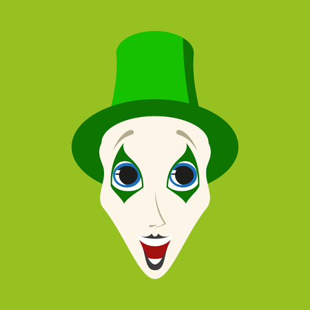 Flat icons on theme funny clown mime Illustration