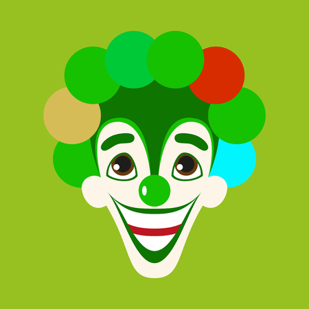 Flat icons on theme funny cheerful clown