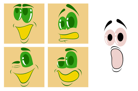 Assembly of flat icons on theme Cartoon face funny emotion  イラスト・ベクター素材