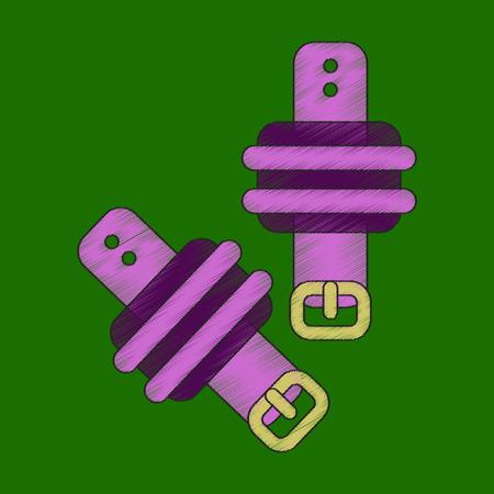 Flat shading style icon athletic weights on legs. Illustration