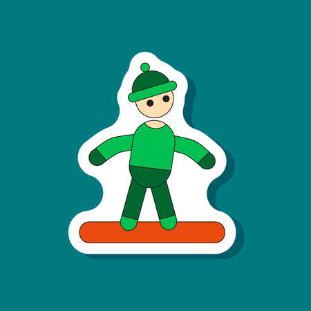 paper sticker on stylish background snowboarder
