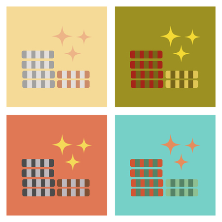 Set of flat icon of poker chips on colored background.