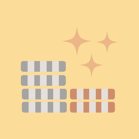 Flat icon of chips on colored background. Illustration