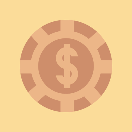 Flat icon of chip with dollar sign on colored background.
